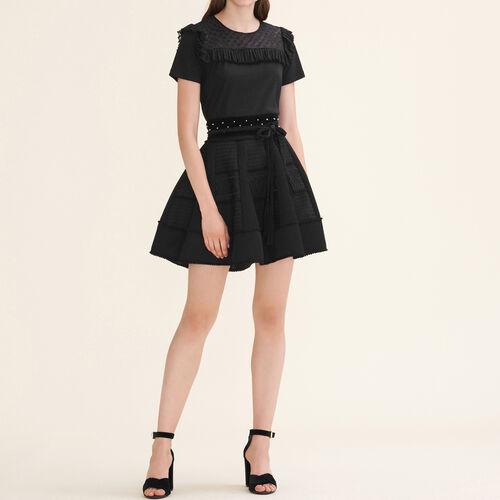 Falda tipo globo de punto de malla : Faldas y shorts color Negro