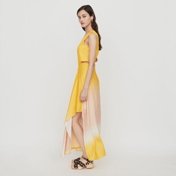 Vestido largo Tie & Dye de raso : Vestidos color Coral