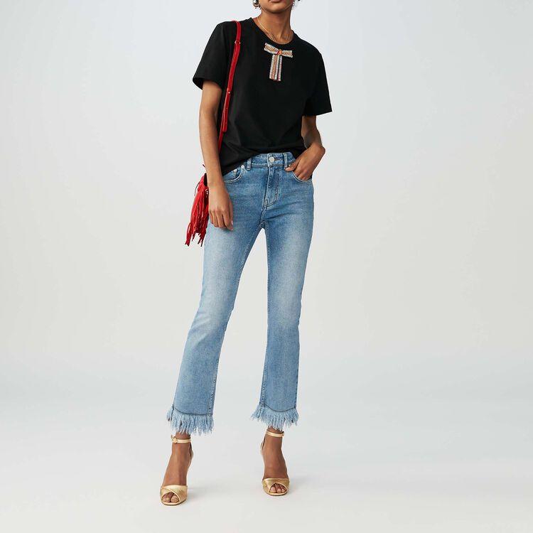 Camiseta loose con lazo joya : T-Shirts color Negro