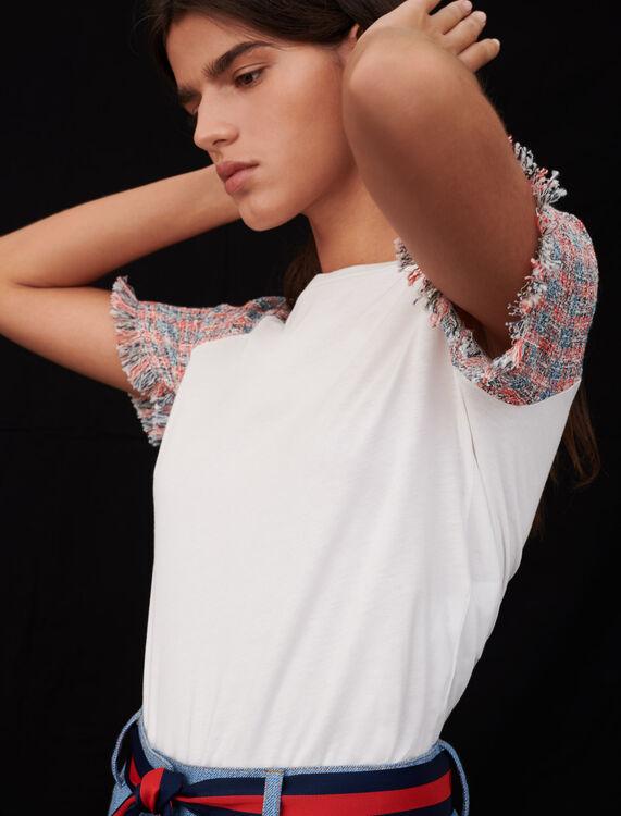 Camiseta de punto con mangas tipo tweed - Tops y Camisas - MAJE