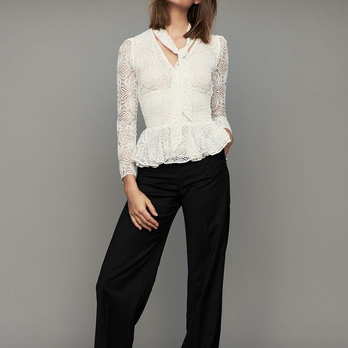 Pantalón ancho con pinzas : Pantalones color Negro