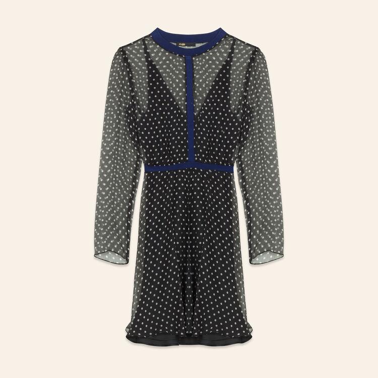 Vestido de muselina de seda con lunares : Vestidos color Estampado