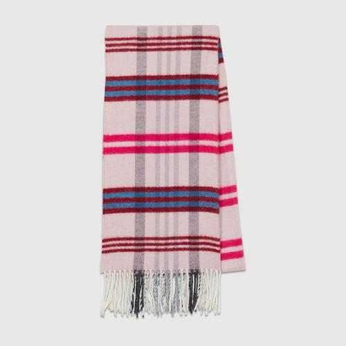 Bufanda con motivos de cuadros : Pañuelos & Ponchos color Burdeos