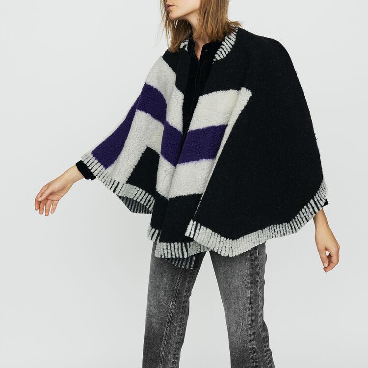 Poncho de piel de cordero vuelta : Pañuelos & Ponchos color Negro
