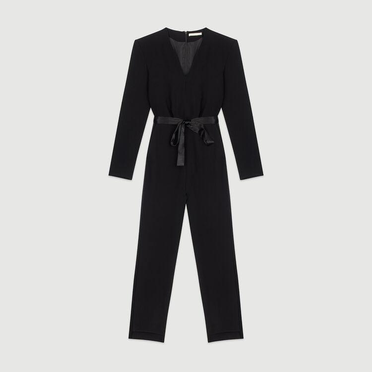 Mono-pantalón de crepé : Pantalones y Jeans color Negro