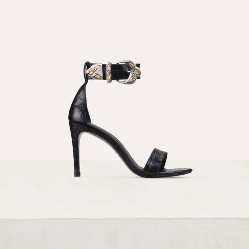 Sandalias con tacón de cuero cocodrilo : Nueva colección color Negro