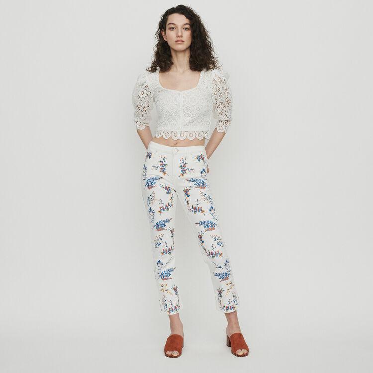Jean recto con bordados : Pantalones y Jeans color Multicolor