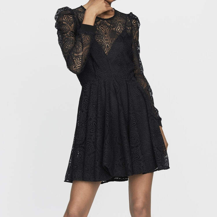 Vestido patinadora de encaje : Prêt-à-porter color Negro