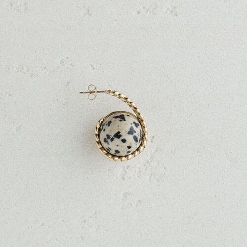 Pendiente derecho en piedra natural : Bisuteria color Blanco Roto