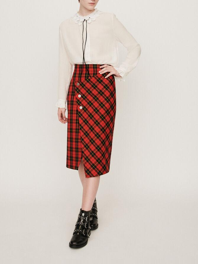 Falda de cuadros asimétrica - Pre_Soldes_Jupes_Shorts - MAJE