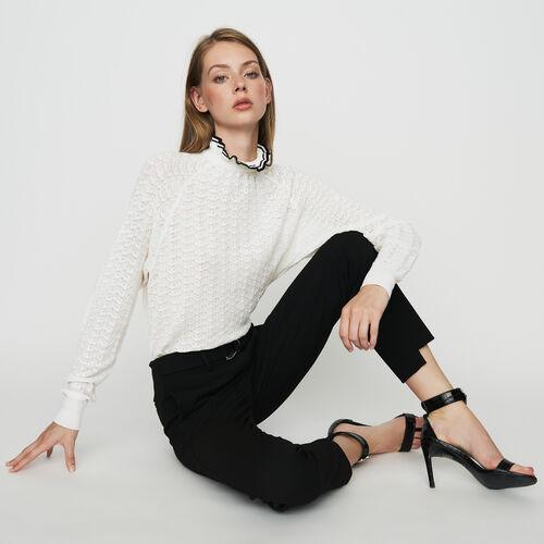 Pantalón recto de crepé : Pantalones color Negro