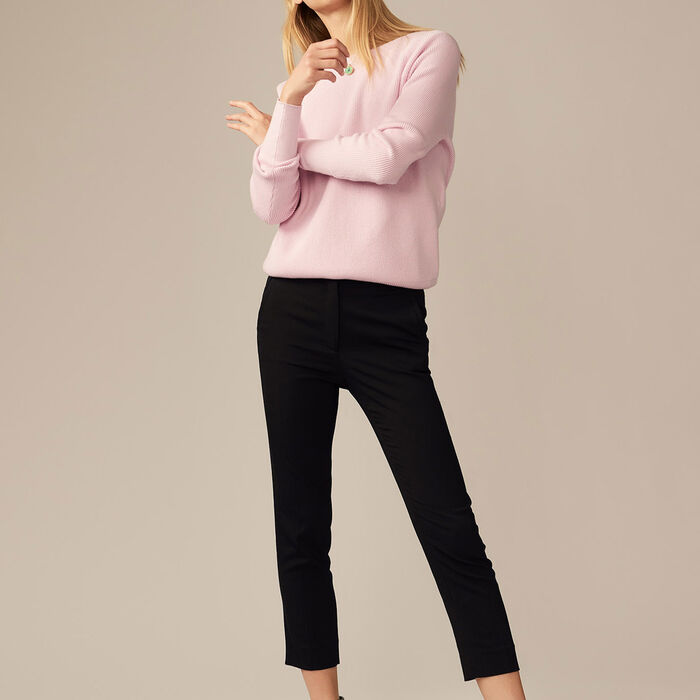 Pantalón recto de viscosa : Pantalones color Negro