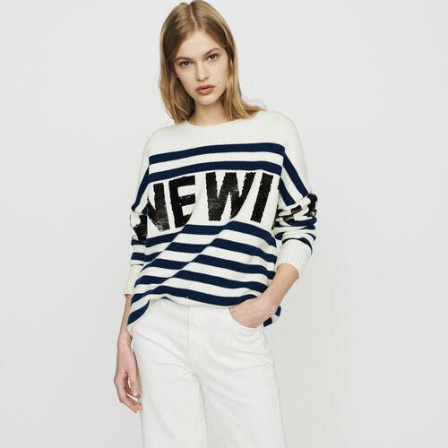 Jersey de rayas de lana mezclada : Malla color ECRU