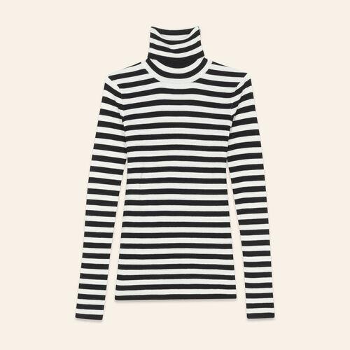 Jersey con cuello vuelto a rayas : Jerseys y cárdigans color Bicolor