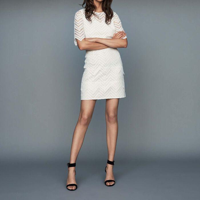 Vestido recto de encaje : Vestidos color Blanco