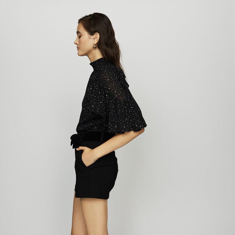 Short vestido con cinturón de raso : Faldas y shorts color Negro