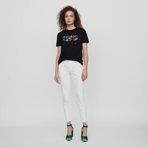 Camiseta bordada : T-Shirts color Negro