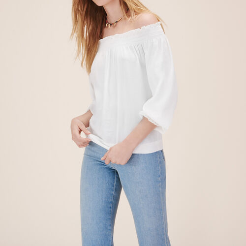 Blusa con fruncidos : Tops color Blanco