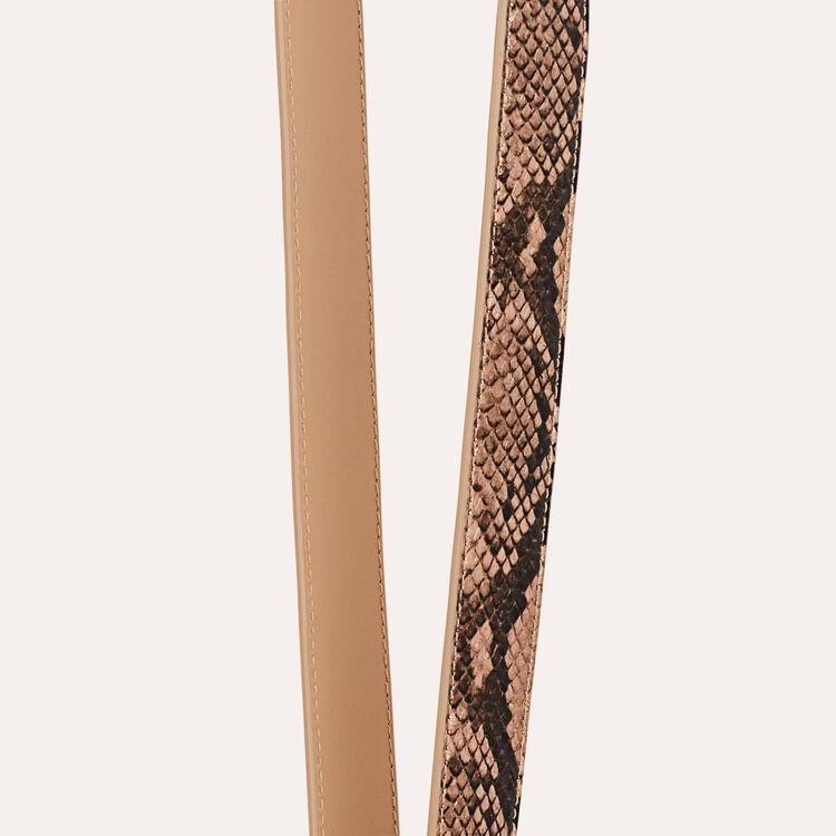 Bandolera de cuero de serpiente : Bandoleras color Beige