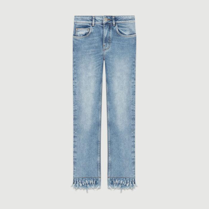 Vaquero recto con dobladillo de flecos : Jeans color Denim