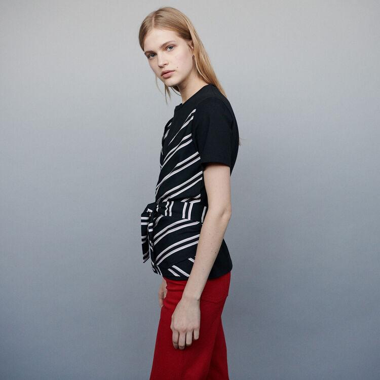 Camiseta con añadido de tejido bimateria : T-Shirts color Negro