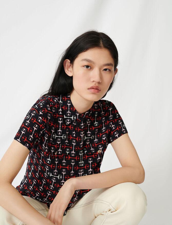 Camisa de manga corta estampada - Tops y Camisas - MAJE