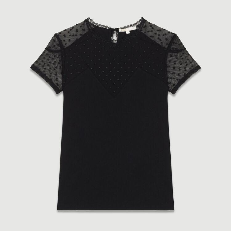 Camiseta con incrustaciones plumetis : T-Shirts color Negro