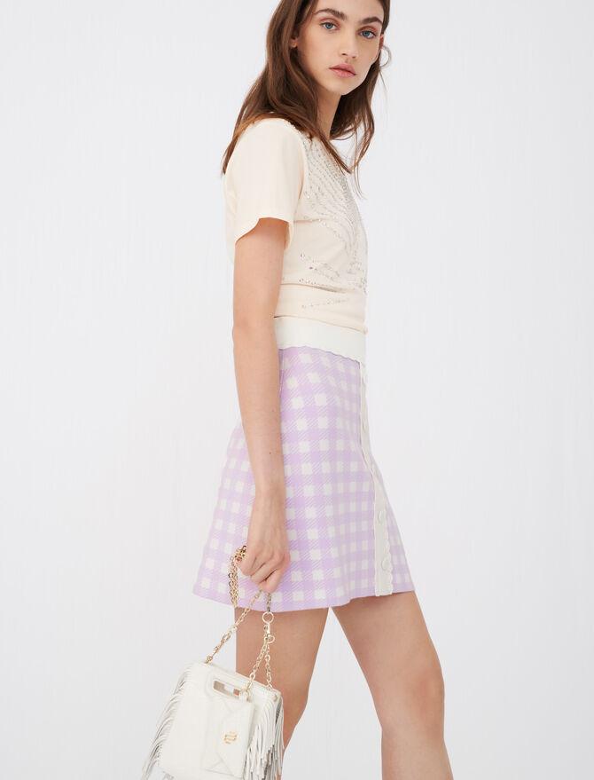 Falda recta de jacquard de cuadros - Faldas y shorts - MAJE