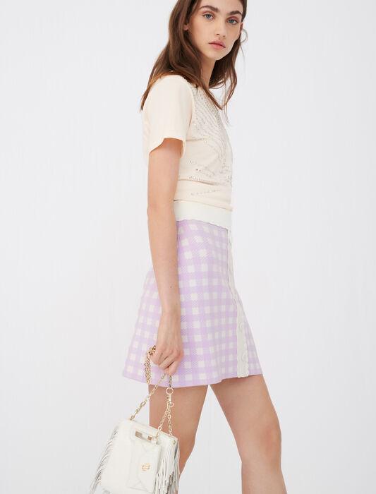 Falda recta de jacquard de cuadros : Faldas y shorts color Parma