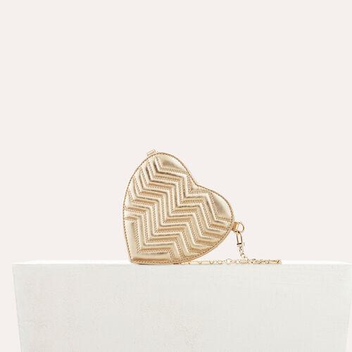 Bolso alforja de corazón, piel acolchada : Colección de verano color Dorado