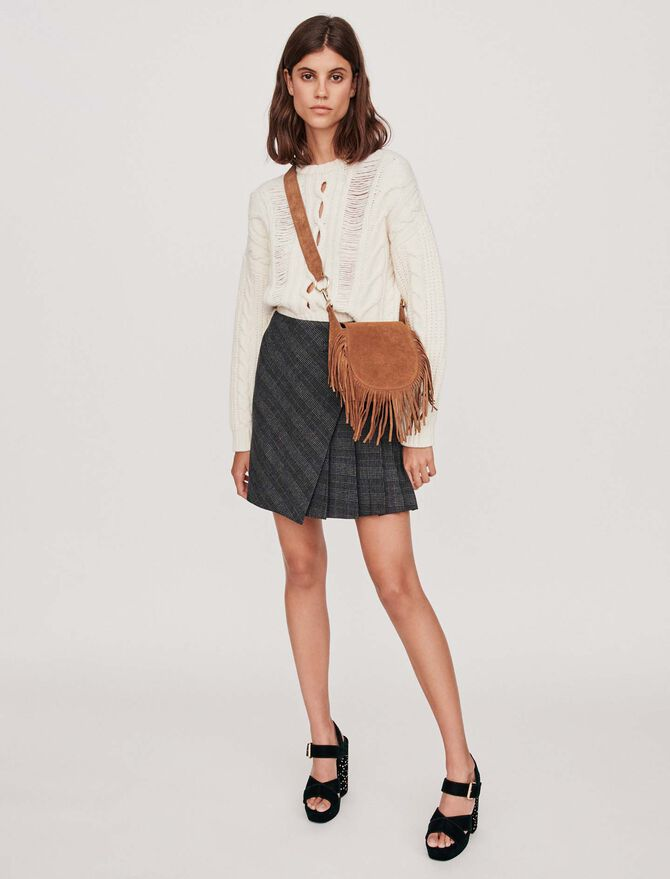 Pleated short skirt with checks - Midseason-Sales_UK_30% - MAJE
