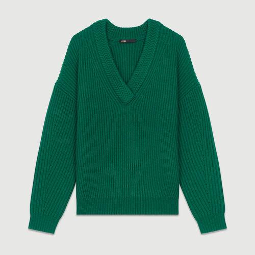 Jersey de manga larga con cuello en V : Malla color Verde