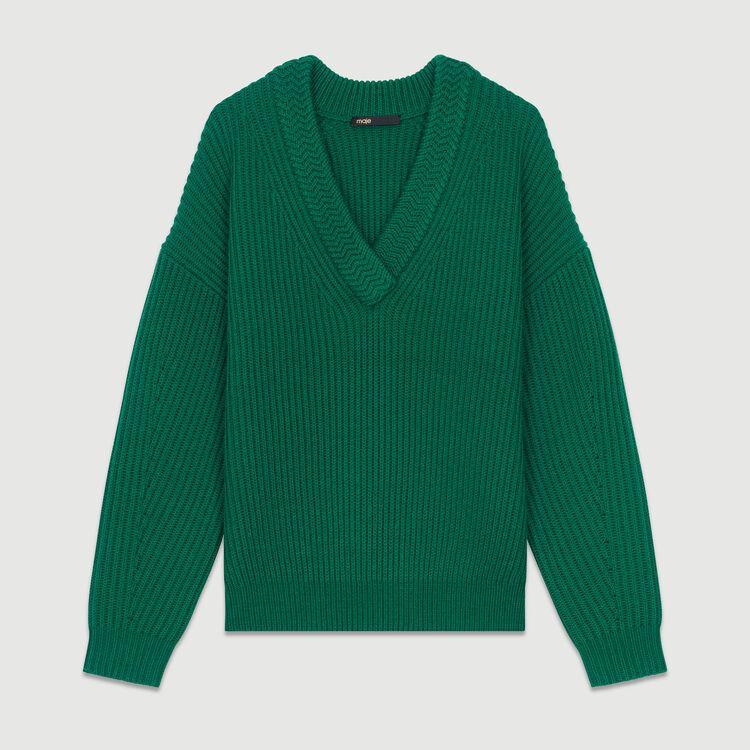 Jersey de manga larga con cuello en V : Malla color ECRU
