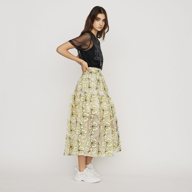Falda larga bordada espíritu organdí : Faldas y shorts color Amarillo