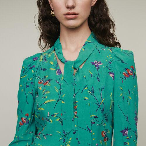 Blusa estampada con corbata : Camisas color IMPRIME