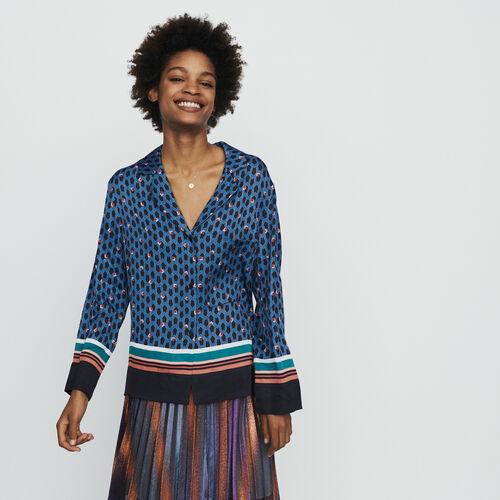Camisa tipo pijama estampado monograma : Tops y Camisas color IMPRIME