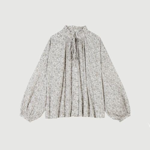 Blusa de algodón estampado floral : Tops y Camisas color Gris