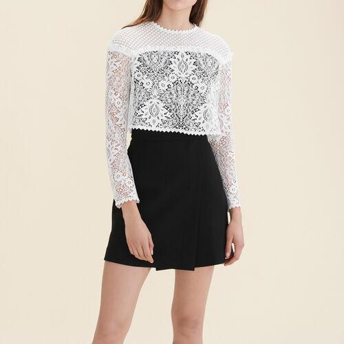 Vestido de encaje y plumetis : Vestidos color Blanco Roto