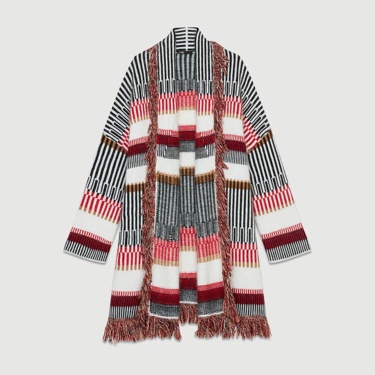 Cárdigan de lana mezclada con flecos : Malla color Multicolor
