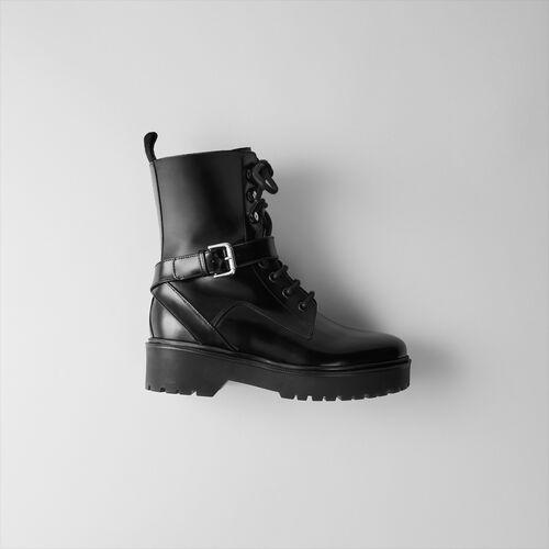 Botines compensados de charol : Botas y Botines color Negro