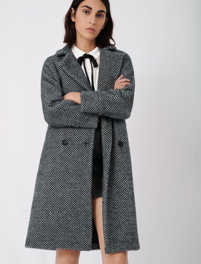 Abrigo de tricotine de cuadros - Warm up - MAJE