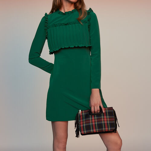 Vestido recto con plastrón plisado : Vestidos color Verde