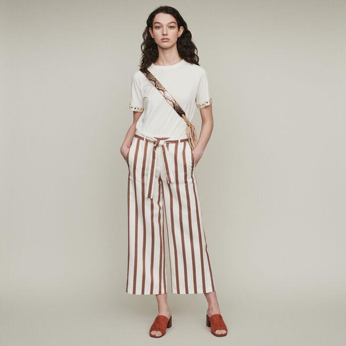 Pantalón ancho rayado ceñido : Pantalones y Jeans color Rayas