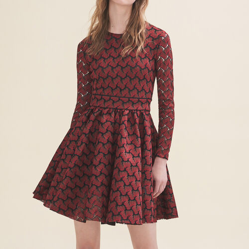 Vestido de encaje contracolado - Vestidos - MAJE