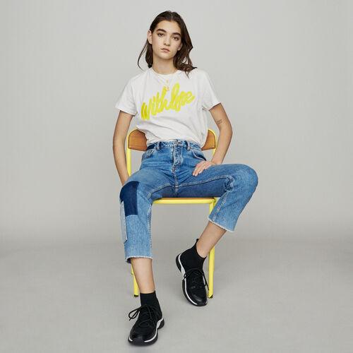Jean recto con añadidos a contraste : Pantalones y Jeans color Azul