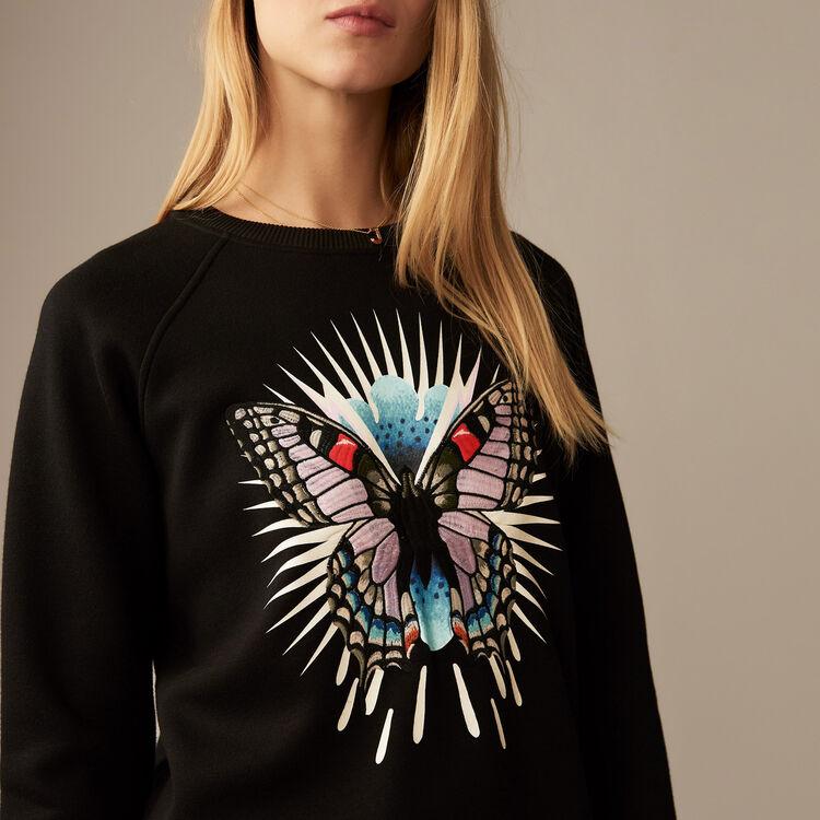 Sudadera con marposa bodada : Sudareras color Negro