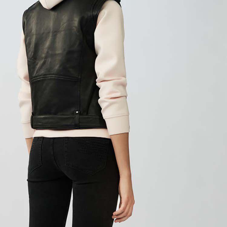Chaleco de cuero sin mangas : Cazadoras color Negro