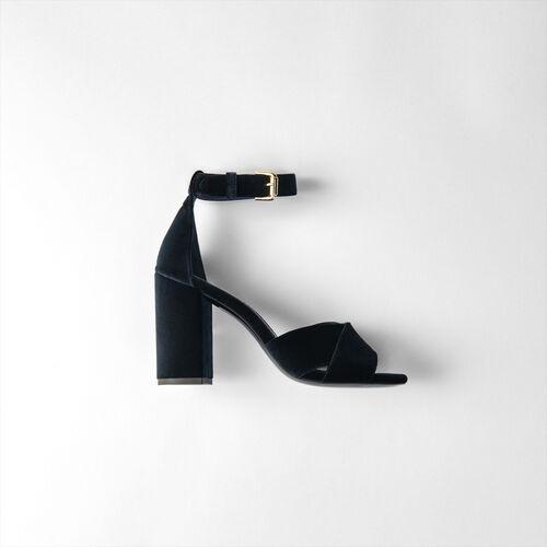 Sandalias de tacón en terciopelo : Zapatos de tacón color Azul Marino