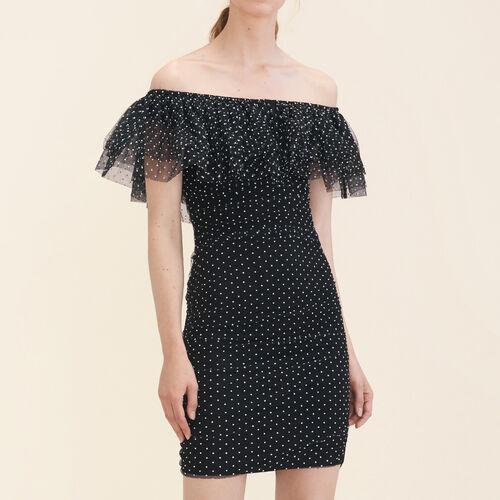Vestido drapeado de lunares : Vestidos color Negro