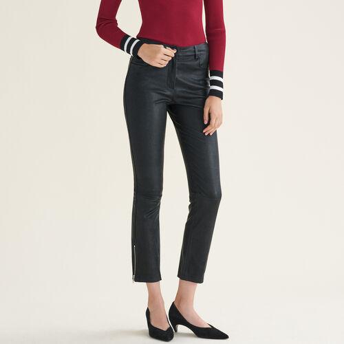 Pantalón de piel con cremalleras : Pantalones color Negro